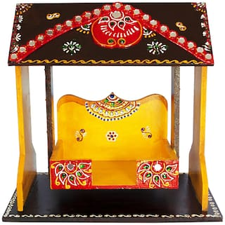 Handmade Decorative Wooden Krishna Laddu Gopal Foldable Jhula/ Wooden Home Temple Krishna Janmashtami Swing Jhula/ Home Temple
