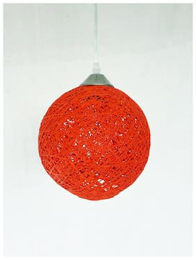 Handmade Hanging Yarn Lamp  With Stylish Touch Decorative Pendant Light for Your Home | Colour - Deep Orange, Size- 20cm