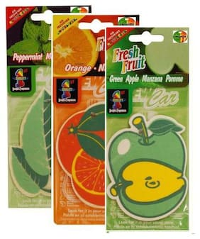 Hanging Air freshners of 3 Apple,Orange,Peppermint