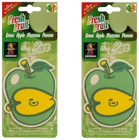 Hanging Air freshners  Set of 2 pcs Green Apple any were Decorative ,Long lasting Car & Home