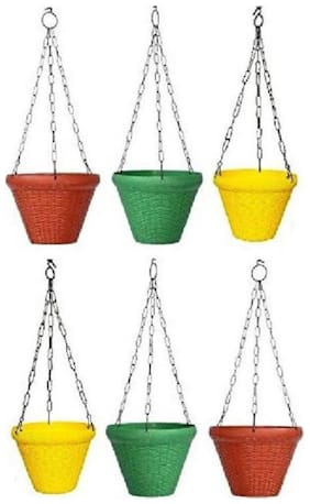 Hanging Flower Pot Basket With Hook Chain For Home Gardener Grower Planter Office Balcony( size-8 inch)(colour as per stock)