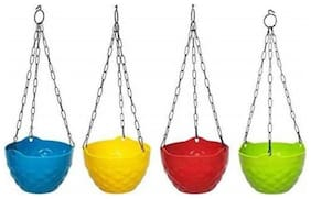 Hanging Flower Pot Basket With Hook Chain For Home Gardener Grower Planter Office Balcony (colour as per stock)