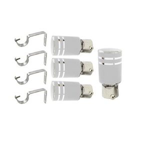 Hans Enterprise Silver Stainless Steel and Alloy Curtain Finials with Supports SLVR102 - Pack of 8 Pcs.