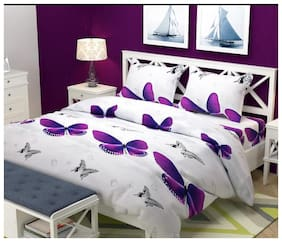 Hanu Home Finishing Poly Cotton 3D Printed Double Size Bedsheet 300 TC ( 1 Bedsheet With 2 Pillow Covers , Multi )