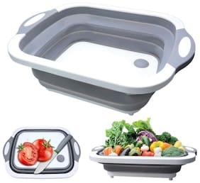 HappiStar 3 in 1 Multifunctional Kitchen Foldable Cutting Chopping Board Collapsible Dish Tub Vegetable & Fruits Washing /Draining Basket