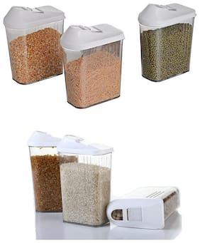 HappiStar Plastic Grocery Container Set of 3 ( 2250 ml , Transparent )