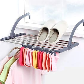 HappiStar Foldable Stainless Steel Clothes Hanger Stand for Drying for Balcony, Multipurpose Towel, Socks, Shoes, Laundry Hanging Dryer Rack - Small