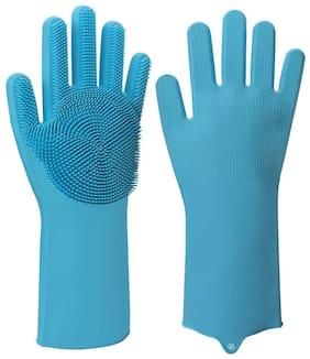 HappiStar Silicone Scrubbing Washing & Cleaning Kitchen Gloves, Reusable Scrub Gloves for Wash Dish, Kitchen, Bathroom (Blue)