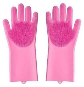HappiStar Silicone Scrubbing Washing & Cleaning Kitchen Gloves, Reusable Scrub Gloves for Wash Dish, Kitchen, Bathroom (Pink)