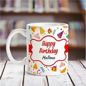 Happy Birthday Halima personalized name coffee mug