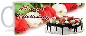 Happy Birthday with cake Printed Coffee Mug By Juvixbuy