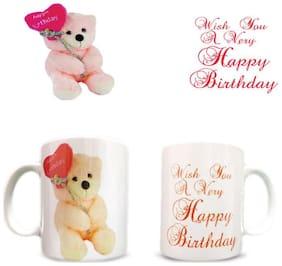 Happy birthday teddy bear printed coffee mug