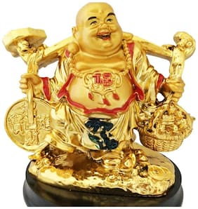Happy Man Laughing Buddha Holding Wealth Coin and Ingots Statue For Attracting Money Prosperity Financial Luck Home