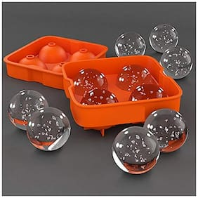 Happy2Buy Round Shape Ice Ball Maker Flexible Silicone Ice Cube Tray Ice Tray for Cocktail  Whisky  Bourbon Chocolate Cocktail or Liqueur Glasses Ice Ball Cube Maker (Orange)