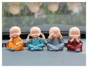 Hardik @Home Creation Cute Sitting Child Monk Baby Buddha Showpiece For Home Decor;Desk Decor;Gift For House Warming Party | Baby Buddha Set For Kids/Gift