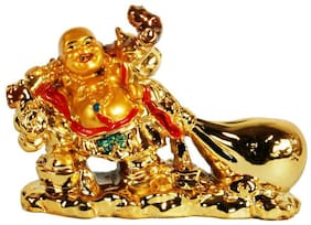 Hardik @Home Creation Decoration Laughing Buddha Golden showpiece Lucky;Study Desktop Collection;Best Gift For Wealth And Luck -Set of 1