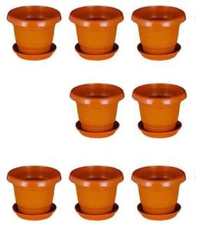 hardik Pots Round Planter 6 inch Terracotta Set of 8 with round bottom plate