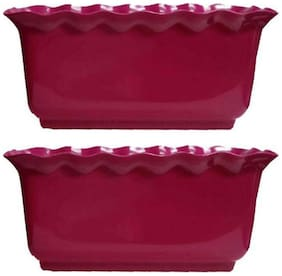 hardik rectangle multi colour planter for indoor and outdoor (size 12 inch) colour may vary not same as shown in image) set of 2