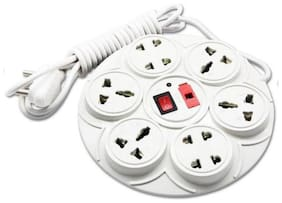 HARKIT Multi Pin White Extension Board ( 3 m , 8 Socket , 1 Switches)