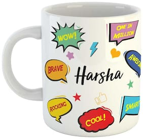Harsha Name Printed Ceramic Coffee Mug. Best Gift For Birthday by AshvahTM