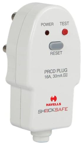 Havells Plastic 16A 30mA PRCD Plug Top (White)
