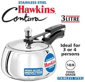 Hawkins Contura Stainless Steel 3 L Induction Bottom Inner Lid Pressure Cooker - Set of 1 ,