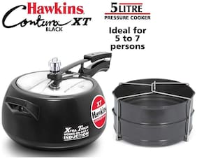 Hawkins CXT Hard-Anodized Aluminium 5 L Induction Bottom Inner Lid Pressure Cooker - Set of 2 ,