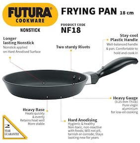 Hawkins Futura Nonstick Frying Pan Capacity 0.5 L Diameter 18 cm Thickness 3.25 mm Black
