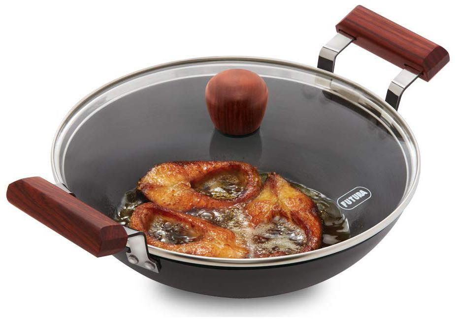 Hawkins Futura Hard Anodised Fish Fry Kadhai  Round Bottom  with Glass Lid,Capacity 2.5 L,Diameter 25 cm,Thickness 3.25 mm,Black  AFFK25G  by Hardtrac