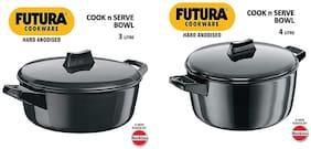 Hawkins Futura Hard Anodised Cook-n-Serve Bowl;Set of 2;Black (3 L + 4 L)