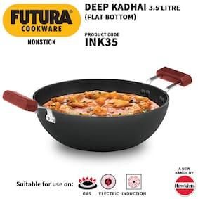 Hawkins Futura Nonstick Induction Flat Bottom Kadhai (Deep-Fry Pan),3.5 L (INK35)