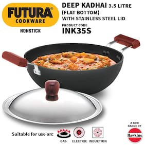 Hawkins Futura Nonstick Induction Flat Bottom Kadhai (Deep-Fry Pan) with Stainless Steel Lid,3.5 L (INK35S)