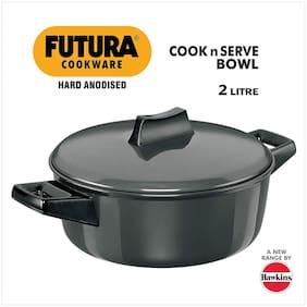 Hawkins Futura Hard Anodised Cook-n-Serve Bowl;2 litres;Black
