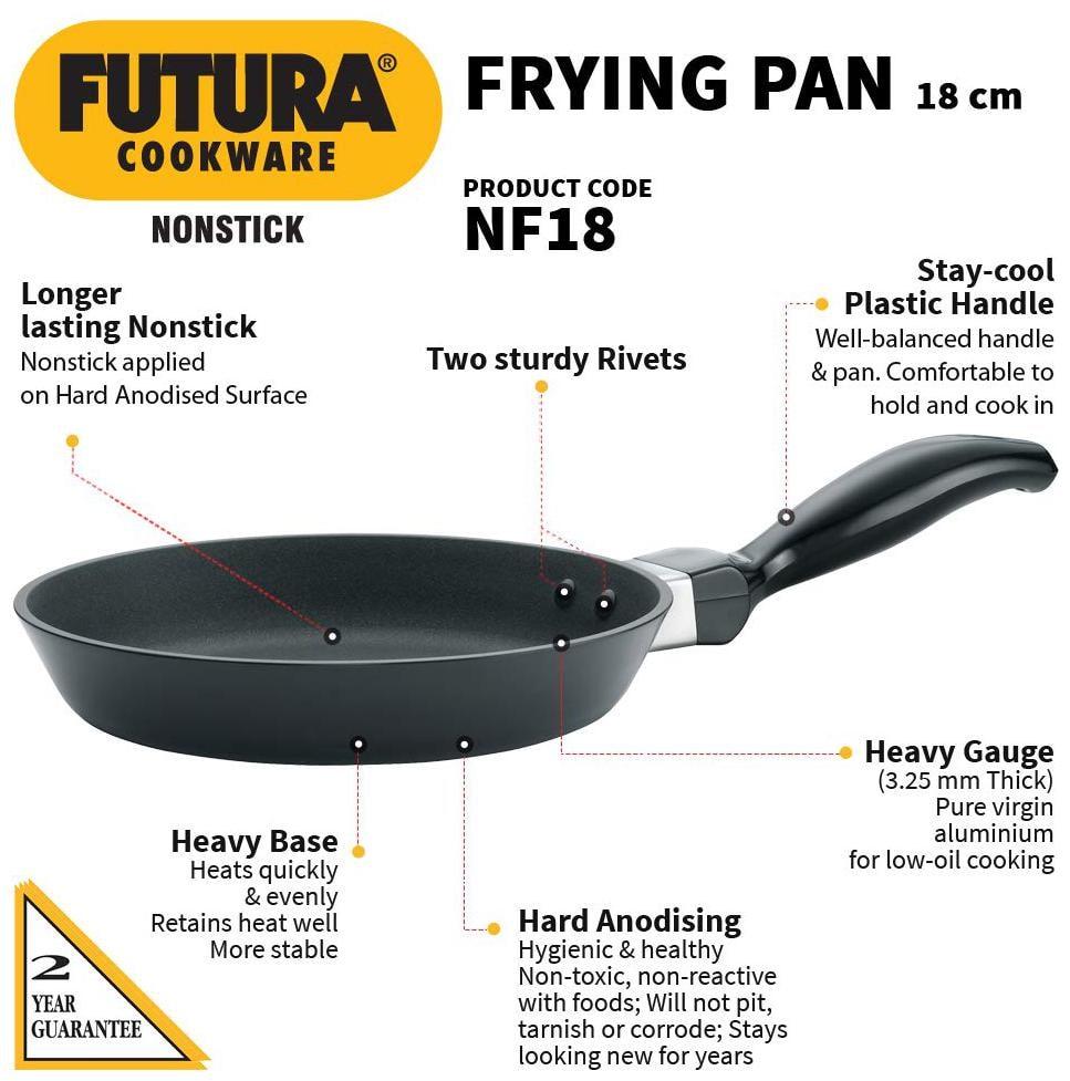 Hawkins Futura Nonstick Frying Pan Capacity 0.5 L Diameter 18 cm Thickness 3.25 mm Black by Rajan Khosla