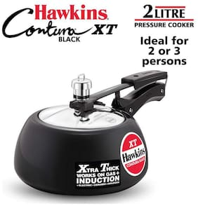 Hawkins Pressure Cooker Contura Hard Anodized Extra Thick Base for Induction  2L (Black)