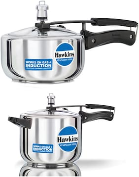 Hawkins Stainless Steel 2 L And 5 L Pressure Cooker Combo - Induction Compatible