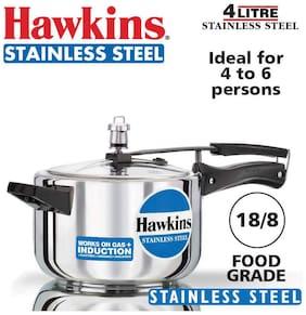 Hawkins Stainless Steel 4 L Induction Bottom Inner Lid Pressure Cooker - Set of 1 ,