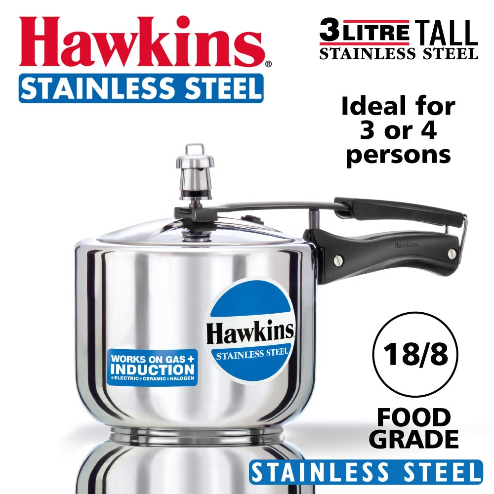 Hawkins Tall Body Stainless Steel 3 L Induction Bottom Inner Lid Pressure...