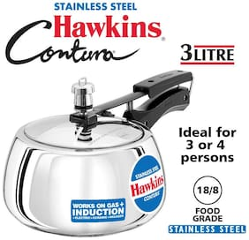Hawkins Contura Stainless Steel 3 L Induction Bottom Inner Lid Pressure Cooker - Set of 1 ,