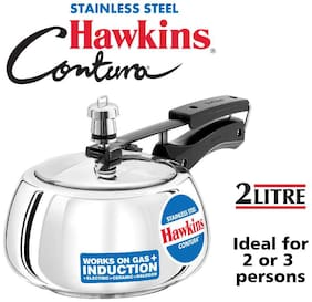 Hawkins Contura Stainless Steel 2 L Induction Bottom Inner Lid Pressure Cooker - Set of 1 ,