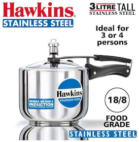 Hawkins Tall 3 L Inner Lid Pressure Cooker Induction Bottom ( Silver , Stainless Steel , Set of 1 )