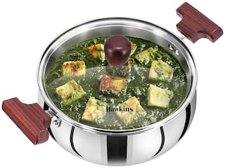 Hawkins TriPly Stainless Steel Induction Base Cook n Serve Handi with Glass Lid;22 cm;3 L