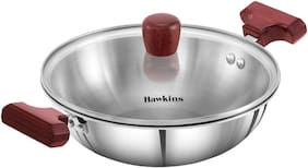 Hawkins Triply 3 mm Extra-Thick Stainless Steel Deep Fry Pan 1.5 L with Lid;Silver