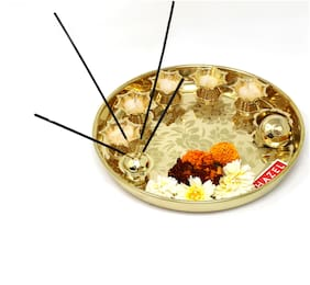 Hazel Aarti Thali Pooja Puja Worship with 5 Diya 1 Insense Stick Holder and 1 Container