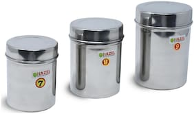 Hazel 1450 ml Silver Stainless steel Container Set - Set of 3