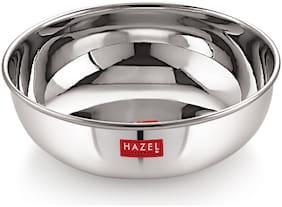Hazel Alfa Premium Heavy Gauge Stainless Steel Tasra Kadhai Cookware (1.8 ltr), Silver