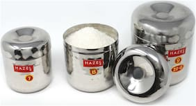 Hazel Alfa Round Stainless Steel Hammered Tone Designer Mini Containers (350, 450 & 650ml) Set of 3