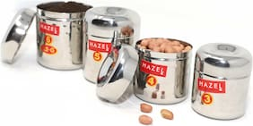 Hazel Alfa Round Stainless Steel Hammered Tone Designer Mini Containers (100 - 280ml) Set of 4
