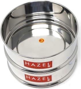 Hazel Alfa Stainless Steel Stackable Seperator, Cooker Dabba for 6 Ltr Pressure Cooker - 16.5 cm, Set of 2