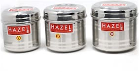Hazel Alfa Stainless Steel Kitchen Storage Baitha Containers Set of 3 (600ml - 1000ml) - Silver